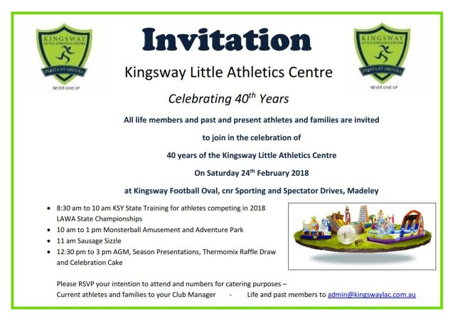 Kingsway LAC Invitation 40th Anniversary 2018